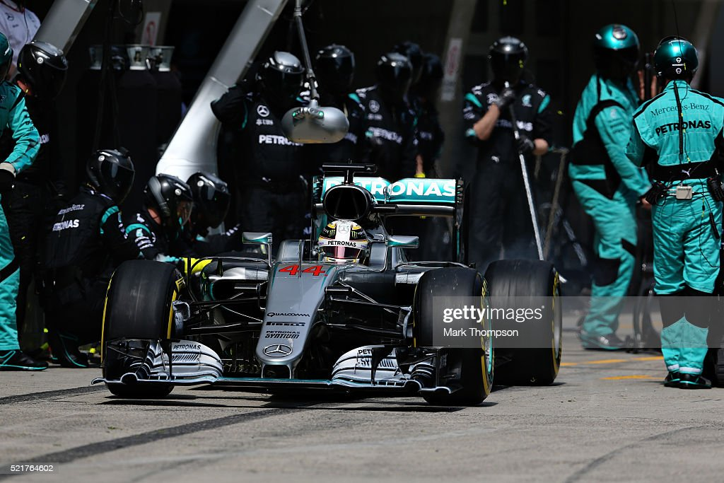 Lewis Hamilton of Great Britain driving the Mercedes AMG Petronas F1 Team Mercedes F1 WO7 Mercedes PU106C Hybrid turbo leaves the pits after stopping...