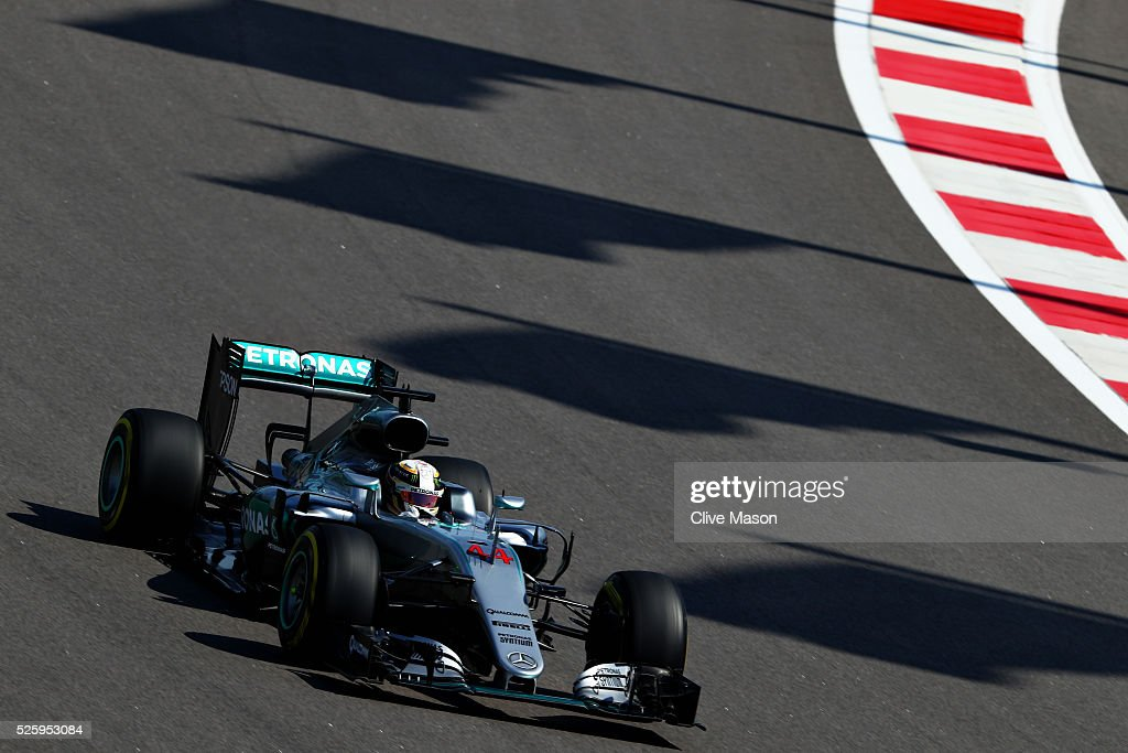 Lewis Hamilton of Great Britain driving the (44) Mercedes AMG Petronas F1 Team Mercedes F1 WO7 Mercedes PU106C Hybrid turbo on track during practice for the Formula One Grand Prix of Russia at Sochi Autodrom on April 29, 2016 in Sochi, Russia.