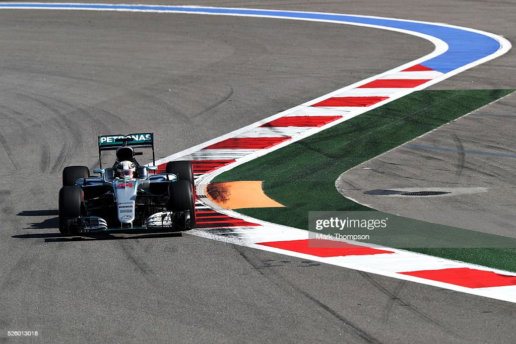 <a gi-track='captionPersonalityLinkClicked' href=/galleries/search?phrase=Lewis+Hamilton&family=editorial&specificpeople=586983 ng-click='$event.stopPropagation()'>Lewis Hamilton</a> of Great Britain driving the (44) Mercedes AMG Petronas F1 Team Mercedes F1 WO7 Mercedes PU106C Hybrid turbo on track during practice for the Formula One Grand Prix of Russia at Sochi Autodrom on April 29, 2016 in Sochi, Russia.