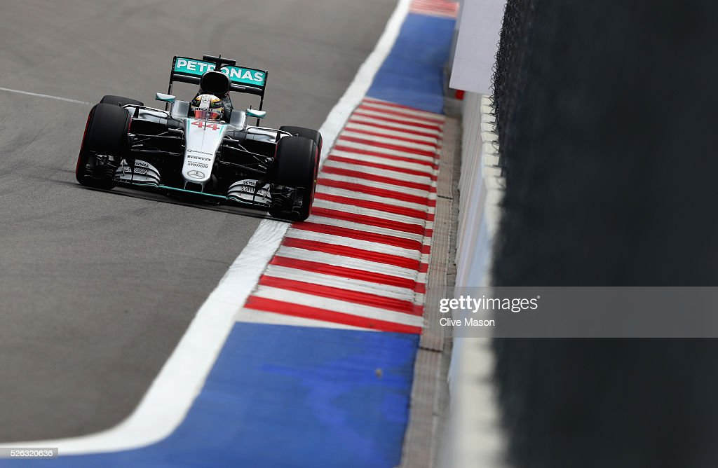 <a gi-track='captionPersonalityLinkClicked' href=/galleries/search?phrase=Lewis+Hamilton&family=editorial&specificpeople=586983 ng-click='$event.stopPropagation()'>Lewis Hamilton</a> of Great Britain driving the (44) Mercedes AMG Petronas F1 Team Mercedes F1 WO7 Mercedes PU106C Hybrid turbo on track during final practice ahead of the Formula One Grand Prix of Russia at Sochi Autodrom on April 30, 2016 in Sochi, Russia.