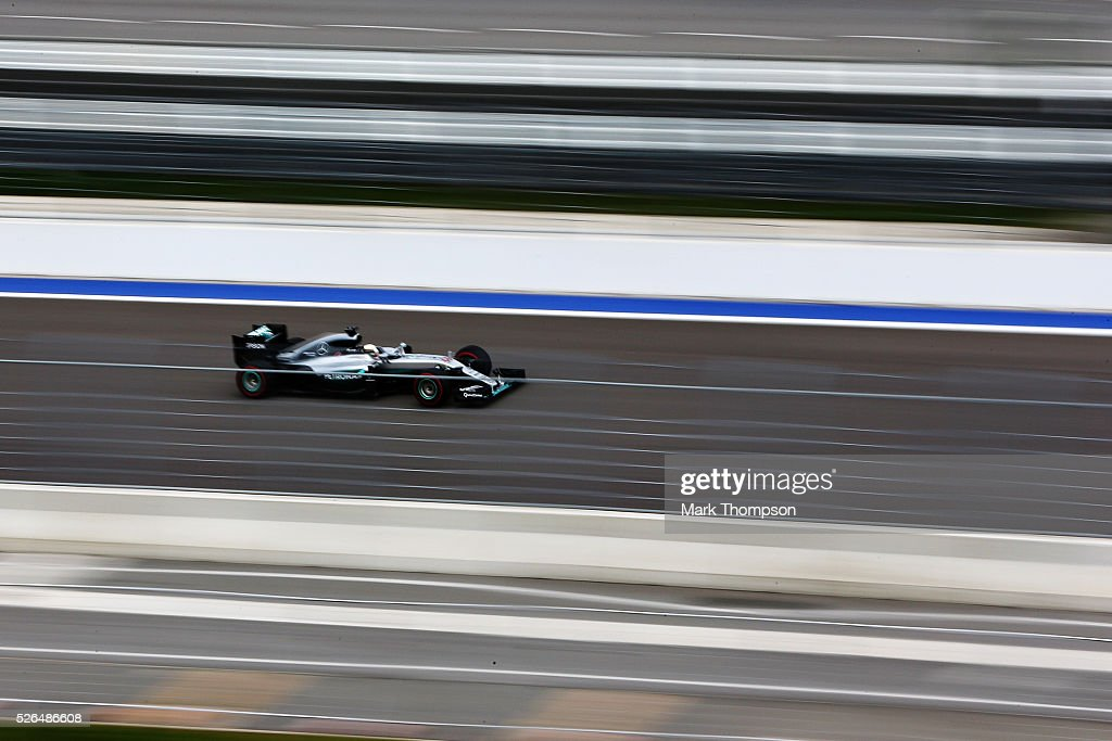 Lewis Hamilton of Great Britain driving the (44) Mercedes AMG Petronas F1 Team Mercedes F1 WO7 Mercedes PU106C Hybrid turbo on track during final practice ahead of the Formula One Grand Prix of Russia at Sochi Autodrom on April 30, 2016 in Sochi, Russia.
