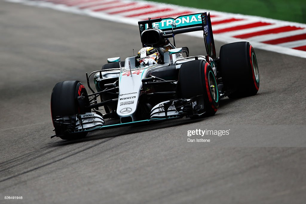 Lewis Hamilton of Great Britain driving the (44) Mercedes AMG Petronas F1 Team Mercedes F1 WO7 Mercedes PU106C Hybrid turbo on track during qualifying for the Formula One Grand Prix of Russia at Sochi Autodrom on April 30, 2016 in Sochi, Russia.