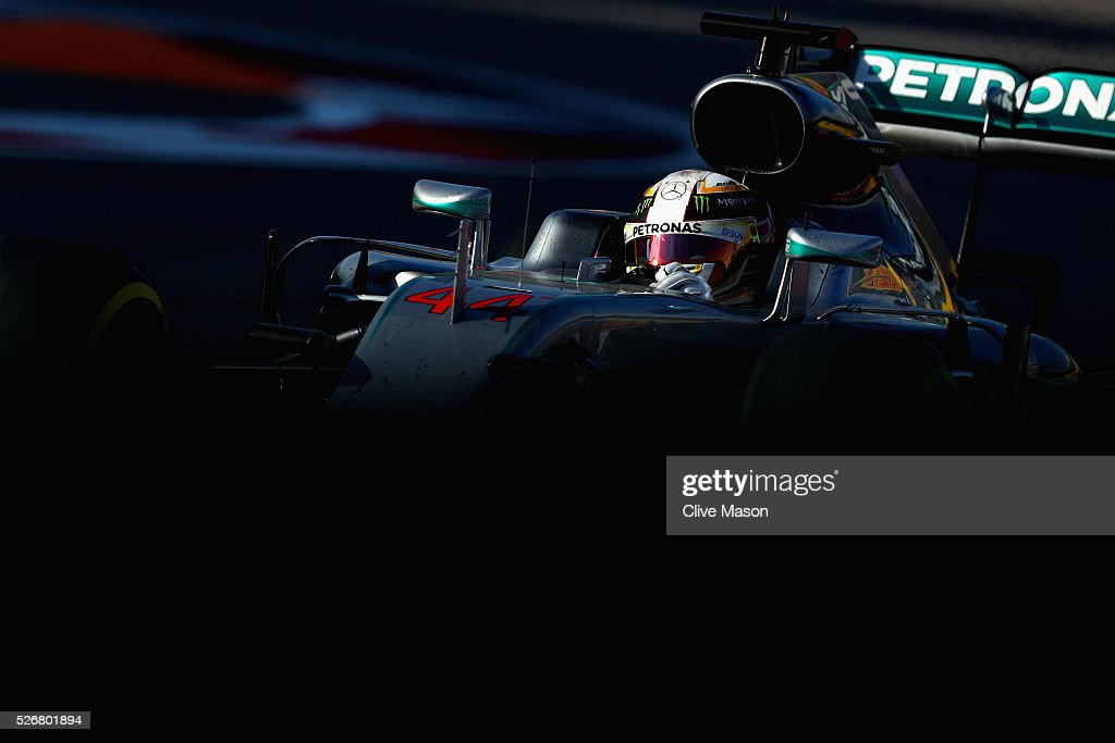 <a gi-track='captionPersonalityLinkClicked' href=/galleries/search?phrase=Lewis+Hamilton&family=editorial&specificpeople=586983 ng-click='$event.stopPropagation()'>Lewis Hamilton</a> of Great Britain driving the (44) Mercedes AMG Petronas F1 Team Mercedes F1 WO7 Mercedes PU106C Hybrid turbo on track during the Formula One Grand Prix of Russia at Sochi Autodrom on May 1, 2016 in Sochi, Russia.
