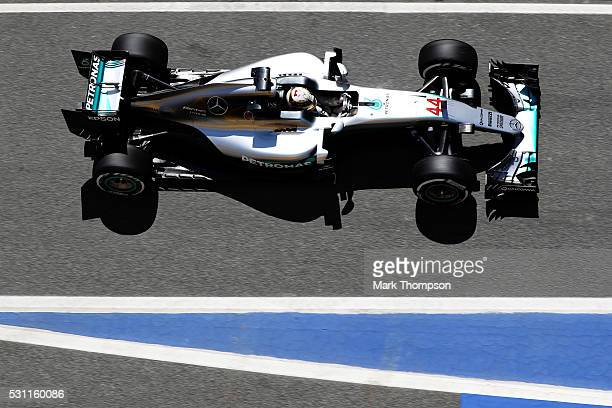 Lewis Hamilton of Great Britain driving the Mercedes AMG Petronas F1 Team Mercedes F1 WO7 Mercedes PU106C Hybrid turbo in the Pitlane during practice...