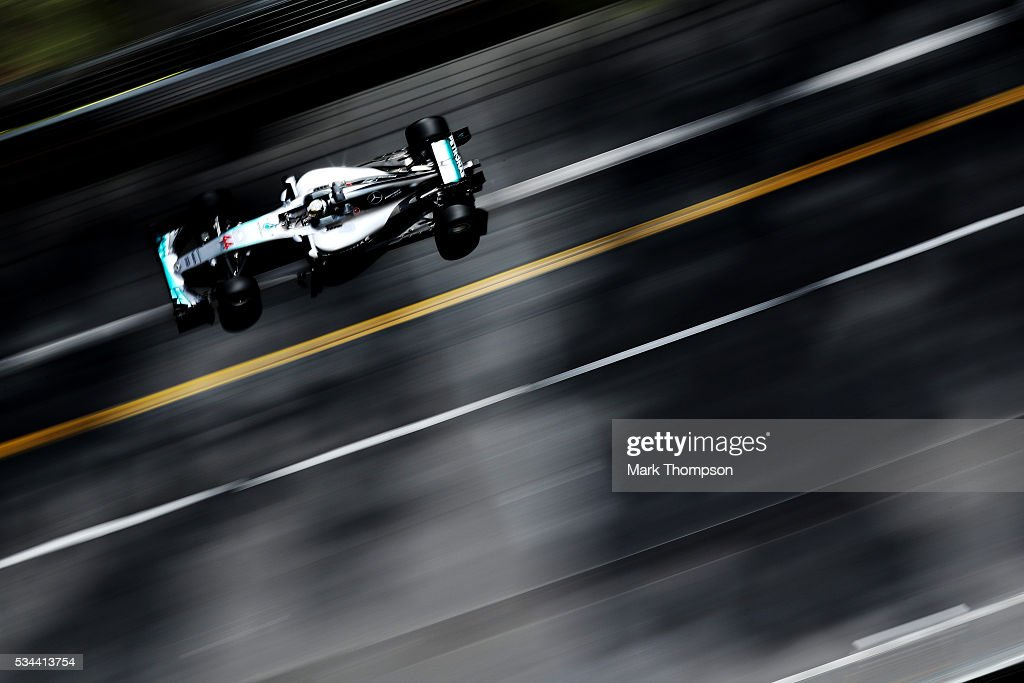 <a gi-track='captionPersonalityLinkClicked' href=/galleries/search?phrase=Lewis+Hamilton+-+Racecar+Driver&family=editorial&specificpeople=586983 ng-click='$event.stopPropagation()'>Lewis Hamilton</a> of Great Britain driving the (44) Mercedes AMG Petronas F1 Team Mercedes F1 WO7 Mercedes PU106C Hybrid turbo on track during practice for the Monaco Formula One Grand Prix at Circuit de Monaco on May 26, 2016 in Monte-Carlo, Monaco.
