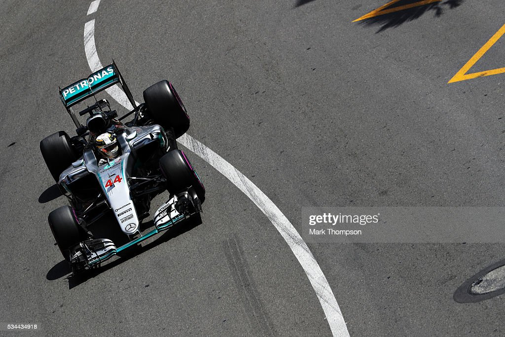Lewis Hamilton of Great Britain driving the (44) Mercedes AMG Petronas F1 Team Mercedes F1 WO7 Mercedes PU106C Hybrid turbo on track during practice for the Monaco Formula One Grand Prix at Circuit de Monaco on May 26, 2016 in Monte-Carlo, Monaco.