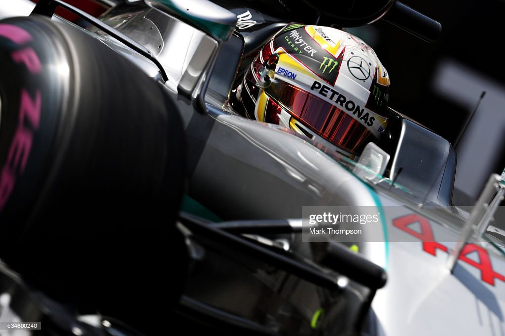 <a gi-track='captionPersonalityLinkClicked' href=/galleries/search?phrase=Lewis+Hamilton+-+Racecar+Driver&family=editorial&specificpeople=586983 ng-click='$event.stopPropagation()'>Lewis Hamilton</a> of Great Britain driving the (44) Mercedes AMG Petronas F1 Team Mercedes F1 WO7 Mercedes PU106C Hybrid turbo on track during final practice ahead of the Monaco Formula One Grand Prix at Circuit de Monaco on May 28, 2016 in Monte-Carlo, Monaco.