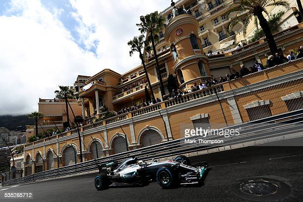 Lewis Hamilton of Great Britain driving the Mercedes AMG Petronas F1 Team Mercedes F1 WO7 Mercedes PU106C Hybrid turbo on track during the Monaco...