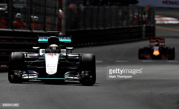 Lewis Hamilton of Great Britain driving the Mercedes AMG Petronas F1 Team Mercedes F1 WO7 Mercedes PU106C Hybrid turbo on track ahead of Daniel...