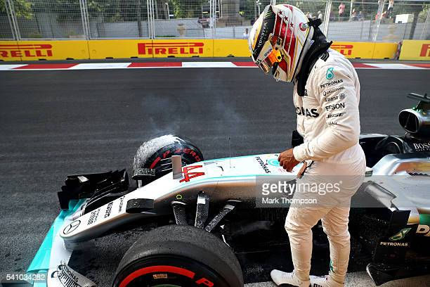 Lewis Hamilton of Great Britain driving the Mercedes AMG Petronas F1 Team Mercedes F1 WO7 Mercedes PU106C Hybrid turbo stops on circuit during...