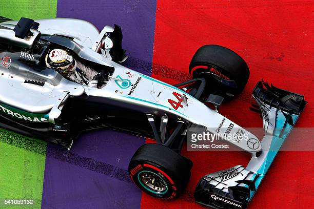 Lewis Hamilton of Great Britain driving the Mercedes AMG Petronas F1 Team Mercedes F1 WO7 Mercedes PU106C Hybrid turbo off the track during...