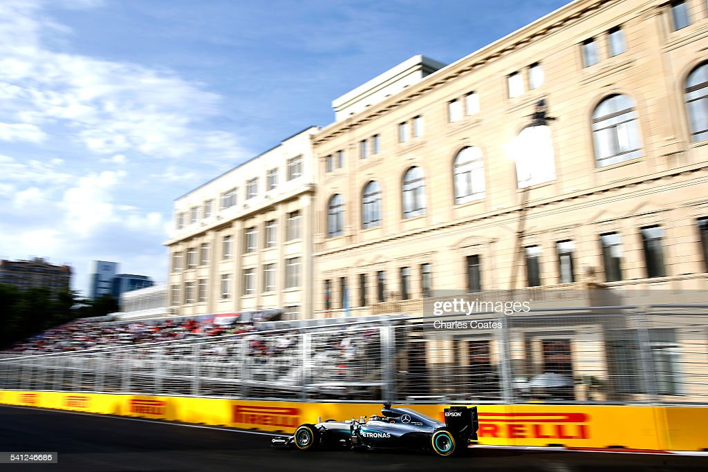 Lewis Hamilton of Great Britain driving the (44) Mercedes AMG Petronas F1 Team Mercedes F1 WO7 Mercedes PU106C Hybrid turbo on track during the European Formula One Grand Prix at Baku City Circuit on June 19, 2016 in Baku, Azerbaijan.