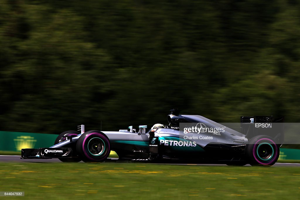 <a gi-track='captionPersonalityLinkClicked' href=/galleries/search?phrase=Lewis+Hamilton+-+Racecar+Driver&family=editorial&specificpeople=586983 ng-click='$event.stopPropagation()'>Lewis Hamilton</a> of Great Britain driving the (44) Mercedes AMG Petronas F1 Team Mercedes F1 WO7 Mercedes PU106C Hybrid turbo on track during practice for the Formula One Grand Prix of Austria at Red Bull Ring on July 1, 2016 in Spielberg, Austria.
