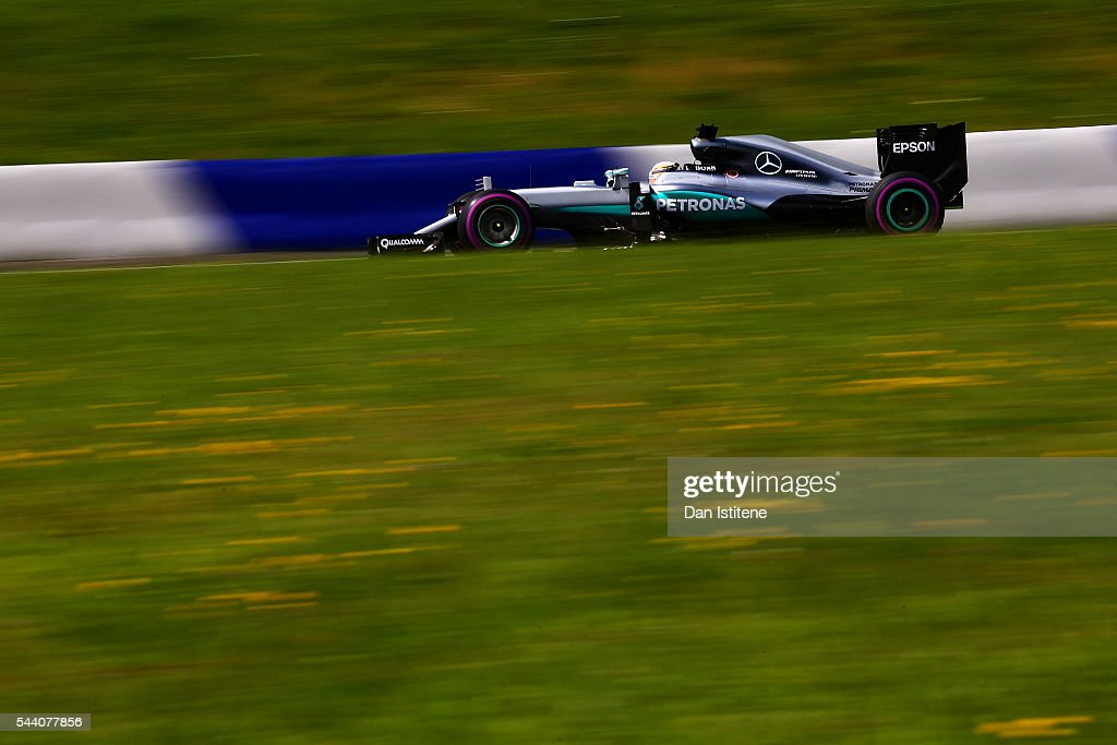 Lewis Hamilton of Great Britain driving the (44) Mercedes AMG Petronas F1 Team Mercedes F1 WO7 Mercedes PU106C Hybrid turbo on track during practice for the Formula One Grand Prix of Austria at Red Bull Ring on July 1, 2016 in Spielberg, Austria.