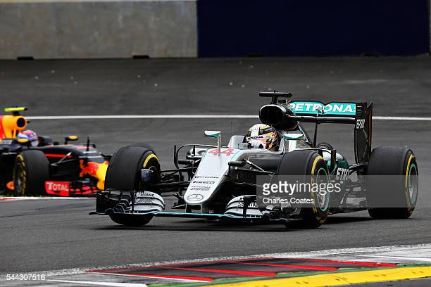 Lewis Hamilton of Great Britain driving the Mercedes AMG Petronas F1 Team Mercedes F1 WO7 Mercedes PU106C Hybrid turbo on track during the Formula...