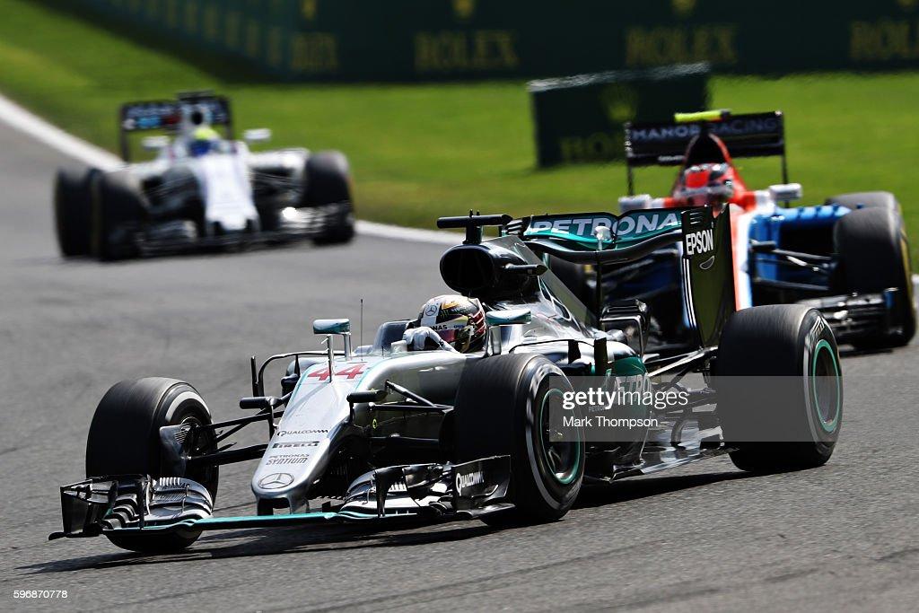 Lewis Hamilton of Great Britain driving the Mercedes AMG Petronas F1 Team Mercedes F1 WO7 Mercedes PU106C Hybrid turbo leads Esteban Ocon of France...