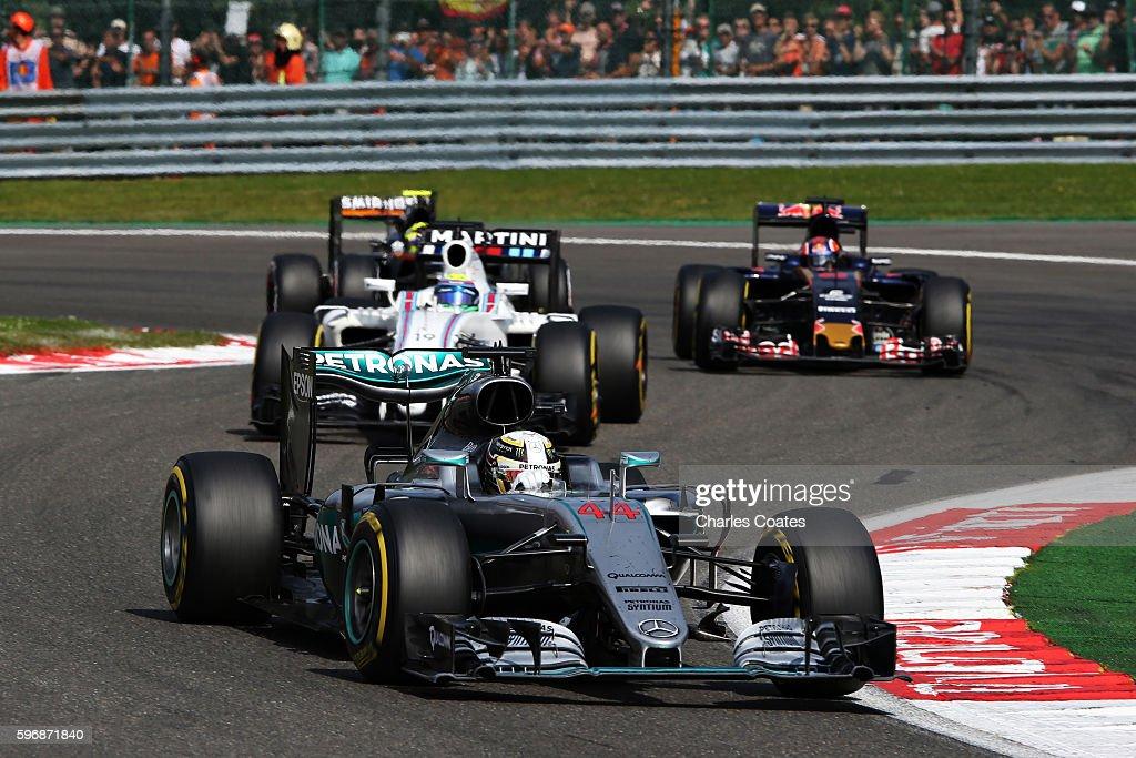 Lewis Hamilton of Great Britain driving the Mercedes AMG Petronas F1 Team Mercedes F1 WO7 Mercedes PU106C Hybrid turbo leads Felipe Massa of Brazil...