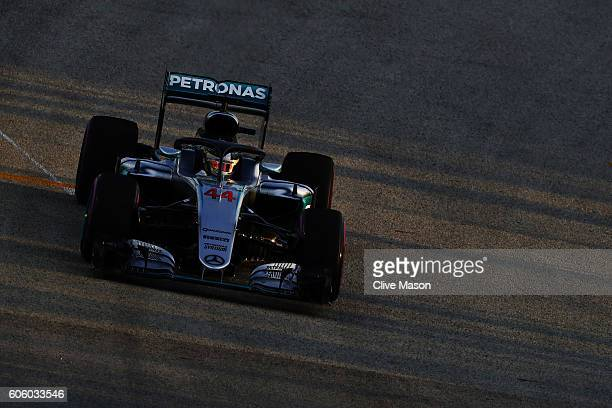 Lewis Hamilton of Great Britain driving the Mercedes AMG Petronas F1 Team Mercedes F1 WO7 Mercedes PU106C Hybrid turbo fitted with the halo on track...