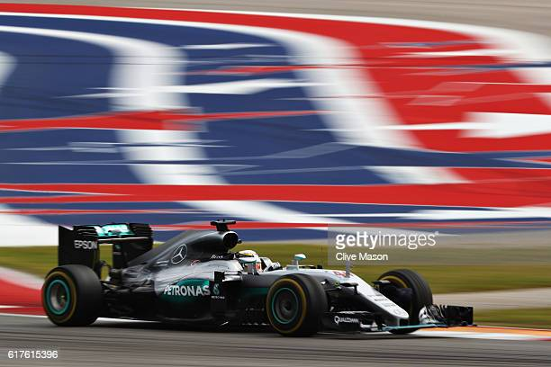 Lewis Hamilton of Great Britain driving the Mercedes AMG Petronas F1 Team Mercedes F1 WO7 Mercedes PU106C Hybrid turbo on track during the United...