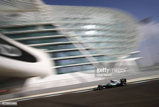 Lewis Hamilton of Great Britain driving the Mercedes AMG Petronas F1 Team Mercedes F1 WO7 Mercedes PU106C Hybrid turbo on track during final practice...