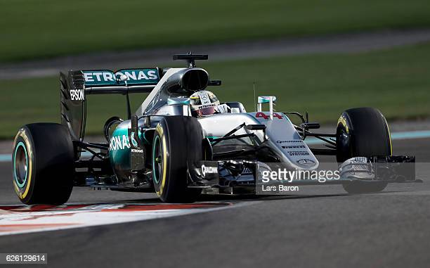 Lewis Hamilton of Great Britain driving the Mercedes AMG Petronas F1 Team Mercedes F1 WO7 Mercedes PU106C Hybrid turbo on track during the Abu Dhabi...