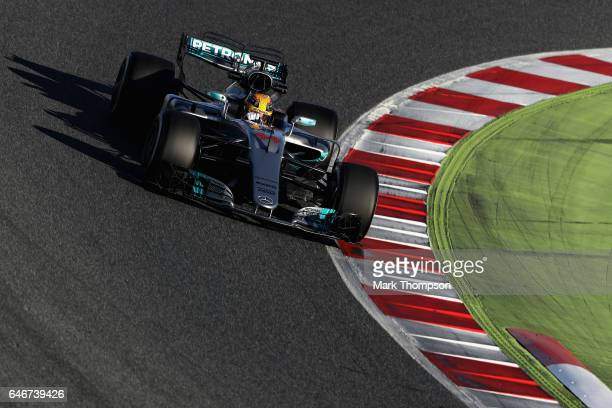 Lewis Hamilton of Great Britain driving the Mercedes AMG Petronas F1 Team Mercedes F1 WO8 on track during day three of Formula One winter testing at...