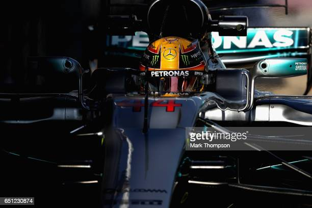 Lewis Hamilton of Great Britain driving the Mercedes AMG Petronas F1 Team Mercedes F1 WO8 in the Pitlane during the final day of Formula One winter...