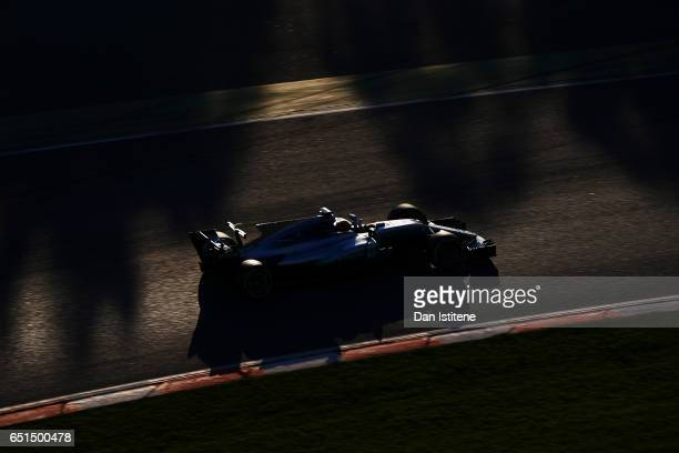 Lewis Hamilton of Great Britain driving the Mercedes AMG Petronas F1 Team Mercedes F1 WO8 on track during the final day of Formula One winter testing...