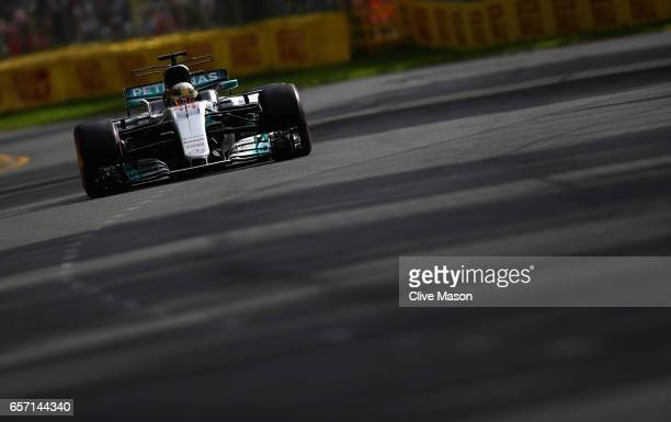Lewis Hamilton of Great Britain driving the Mercedes AMG Petronas F1 Team Mercedes F1 WO8 on track during practice for the Australian Formula One...