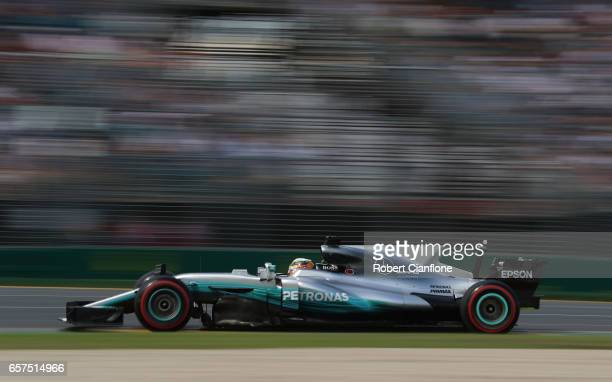 Lewis Hamilton of Great Britain driving the Mercedes AMG Petronas F1 Team Mercedes F1 WO8 on track during final practice for the Australian Formula...