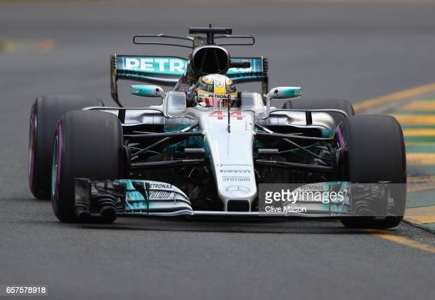 Lewis Hamilton of Great Britain driving the Mercedes AMG Petronas F1 Team Mercedes F1 WO8 on track during qualifying for the Australian Formula One...