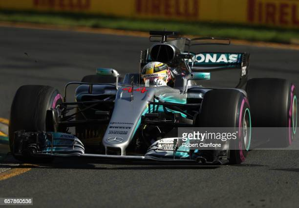 Lewis Hamilton of Great Britain driving the Mercedes AMG Petronas F1 Team Mercedes F1 WO8 on track during the Australian Formula One Grand Prix at...