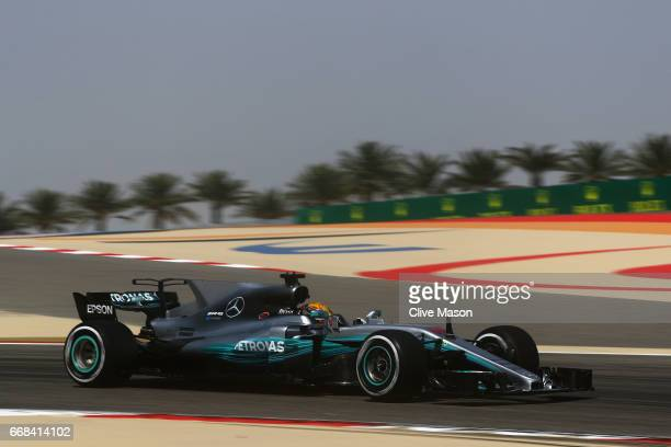Lewis Hamilton of Great Britain driving the Mercedes AMG Petronas F1 Team Mercedes F1 WO8 on track during practice for the Bahrain Formula One Grand...