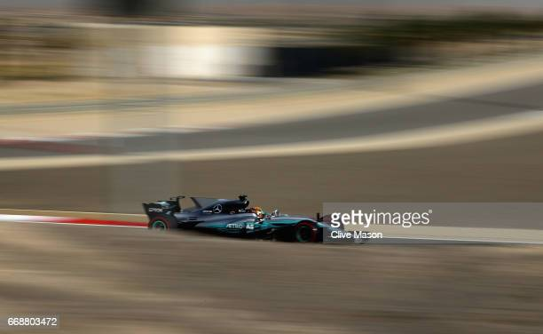 Lewis Hamilton of Great Britain driving the Mercedes AMG Petronas F1 Team Mercedes F1 WO8 on track during final practice for the Bahrain Formula One...