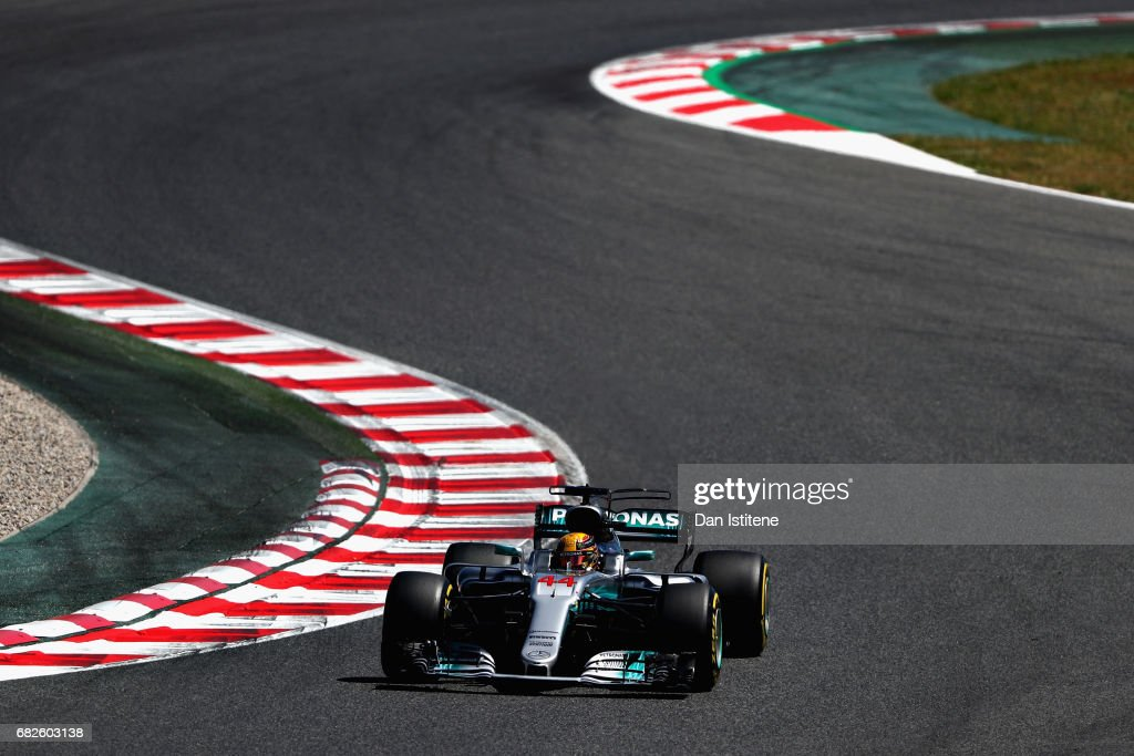 Lewis Hamilton of Great Britain driving the (44) Mercedes AMG Petronas F1 Team Mercedes F1 WO8 on track during qualifying for the Spanish Formula One Grand Prix at Circuit de Catalunya on May 13, 2017 in Montmelo, Spain.