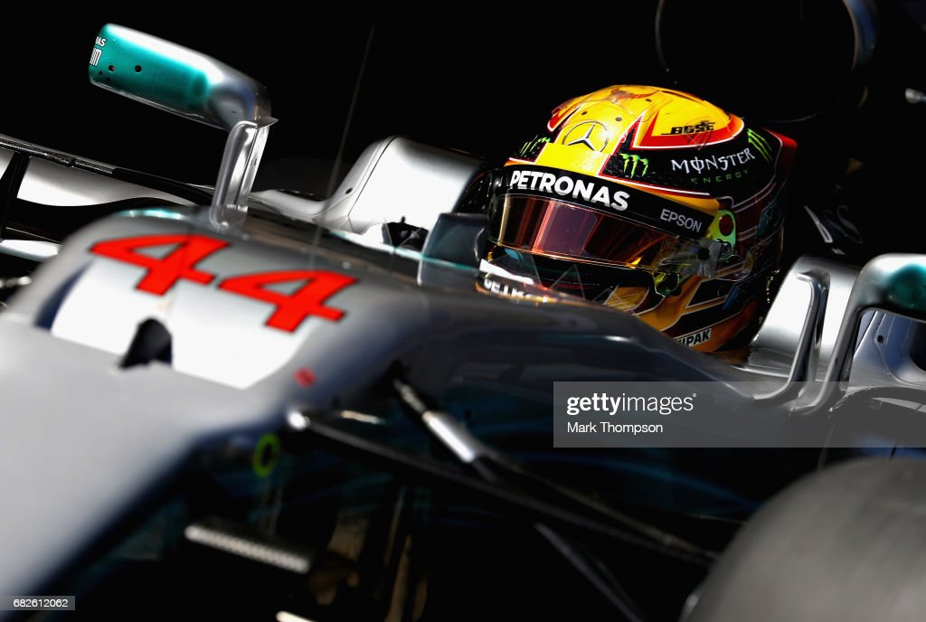 Lewis Hamilton of Great Britain driving the (44) Mercedes AMG Petronas F1 Team Mercedes F1 WO8 leaves the garage during qualifying for the Spanish Formula One Grand Prix at Circuit de Catalunya on May 13, 2017 in Montmelo, Spain.