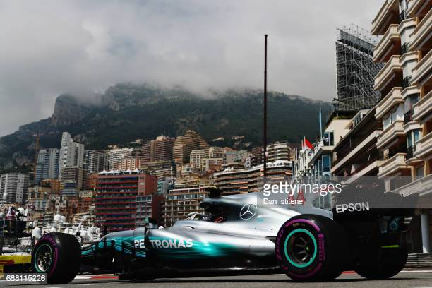 Lewis Hamilton of Great Britain driving the Mercedes AMG Petronas F1 Team Mercedes F1 WO8 on track during practice for the Monaco Formula One Grand...