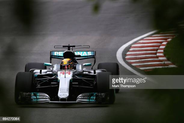 Lewis Hamilton of Great Britain driving the Mercedes AMG Petronas F1 Team Mercedes F1 WO8 on track during practice for the Canadian Formula One Grand...