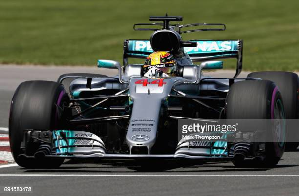 Lewis Hamilton of Great Britain driving the Mercedes AMG Petronas F1 Team Mercedes F1 WO8 on track during qualifying for the Canadian Formula One...