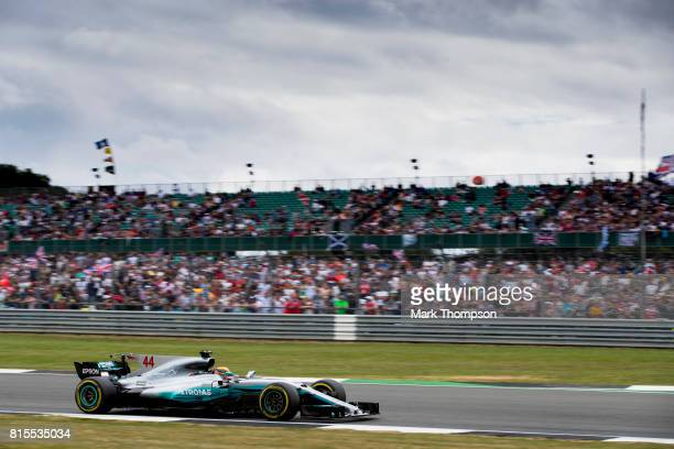 Lewis Hamilton of Great Britain driving the Mercedes AMG Petronas F1 Team Mercedes F1 WO8 on track during the Formula One Grand Prix of Great Britain...