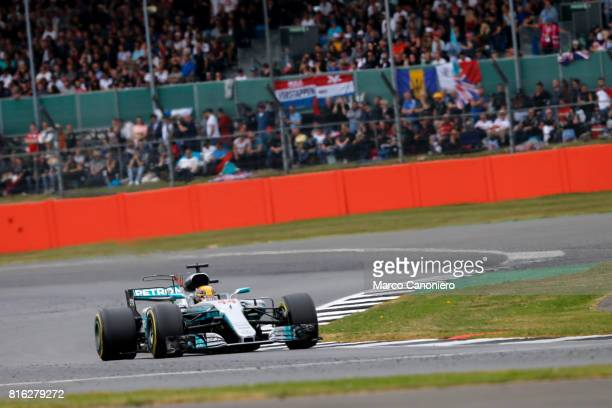Lewis Hamilton of Great Britain driving the Mercedes AMG Petronas F1 Team Mercedes F1 WO8 on track during the Formula One Grand Prix of Great Britain