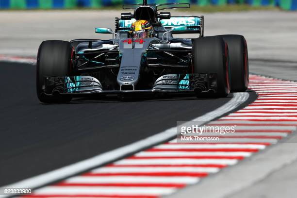 Lewis Hamilton of Great Britain driving the Mercedes AMG Petronas F1 Team Mercedes F1 WO8 on track during practice for the Formula One Grand Prix of...
