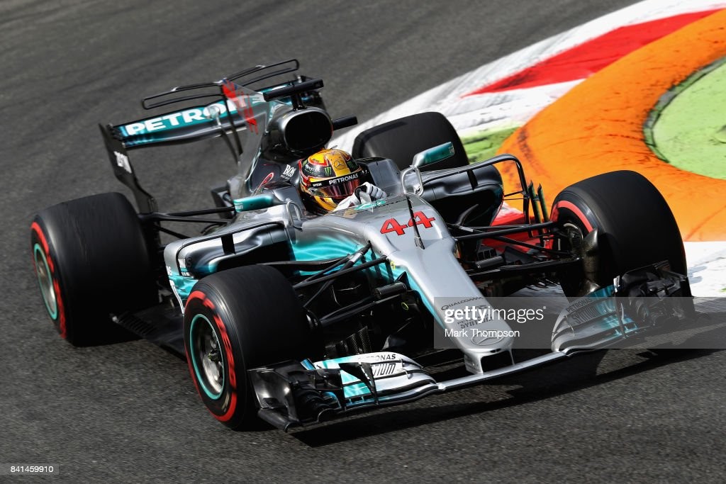 Lewis Hamilton of Great Britain driving the (44) Mercedes AMG Petronas F1 Team Mercedes F1 WO8 on track during practice for the Formula One Grand Prix of Italy at Autodromo di Monza on September 1, 2017 in Monza, Italy.