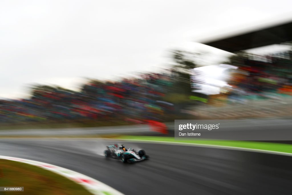 Lewis Hamilton of Great Britain driving the (44) Mercedes AMG Petronas F1 Team Mercedes F1 WO8 on track during qualifying for the Formula One Grand Prix of Italy at Autodromo di Monza on September 2, 2017 in Monza, Italy.