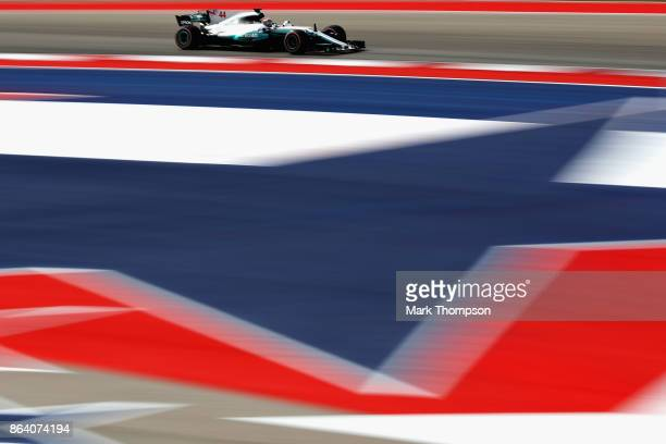 Lewis Hamilton of Great Britain driving the Mercedes AMG Petronas F1 Team Mercedes F1 WO8 on track during practice for the United States Formula One...
