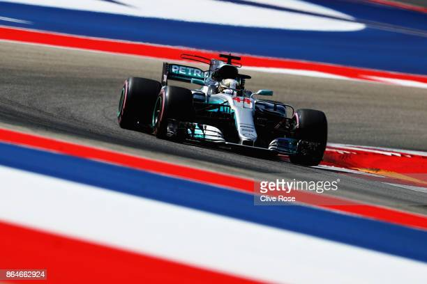 Lewis Hamilton of Great Britain driving the Mercedes AMG Petronas F1 Team Mercedes F1 WO8 on track during final practice for the United States...