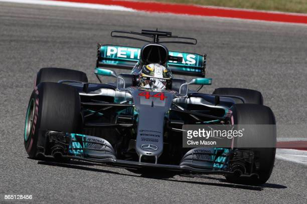 Lewis Hamilton of Great Britain driving the Mercedes AMG Petronas F1 Team Mercedes F1 WO8 on track during the United States Formula One Grand Prix at...