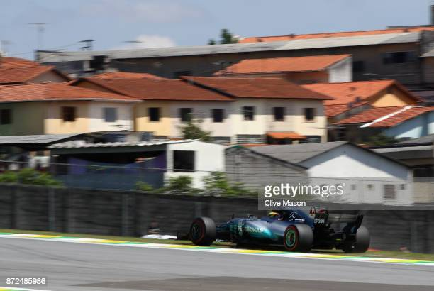 Lewis Hamilton of Great Britain driving the Mercedes AMG Petronas F1 Team Mercedes F1 WO8 runs wide during practice for the Formula One Grand Prix of...