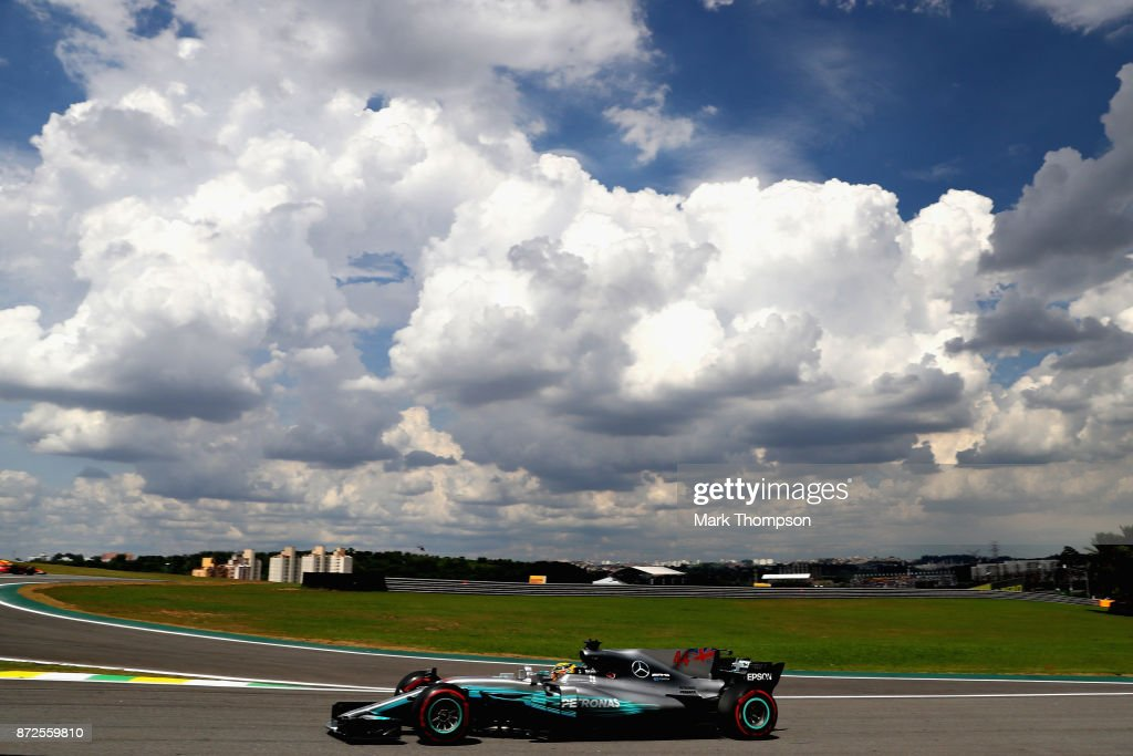 Lewis Hamilton of Great Britain driving the (44) Mercedes AMG Petronas F1 Team Mercedes F1 WO8 on track during practice for the Formula One Grand Prix of Brazil at Autodromo Jose Carlos Pace on November 10, 2017 in Sao Paulo, Brazil.
