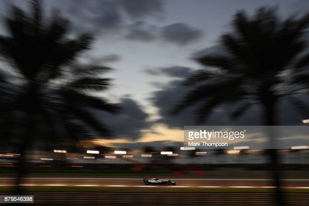 Lewis Hamilton of Great Britain driving the Mercedes AMG Petronas F1 Team Mercedes F1 WO8 on track during the Abu Dhabi Formula One Grand Prix at Yas...